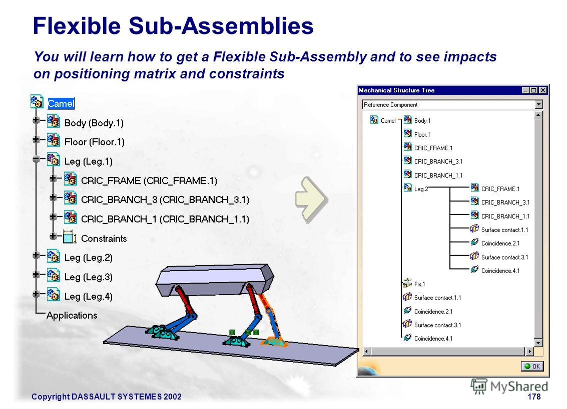 Copyright DASSAULT SYSTEMES 2002178 You will learn how to get a Flexible Sub-Assembly and to see impacts on positioning matrix and constraints Flexible Sub-Assemblies