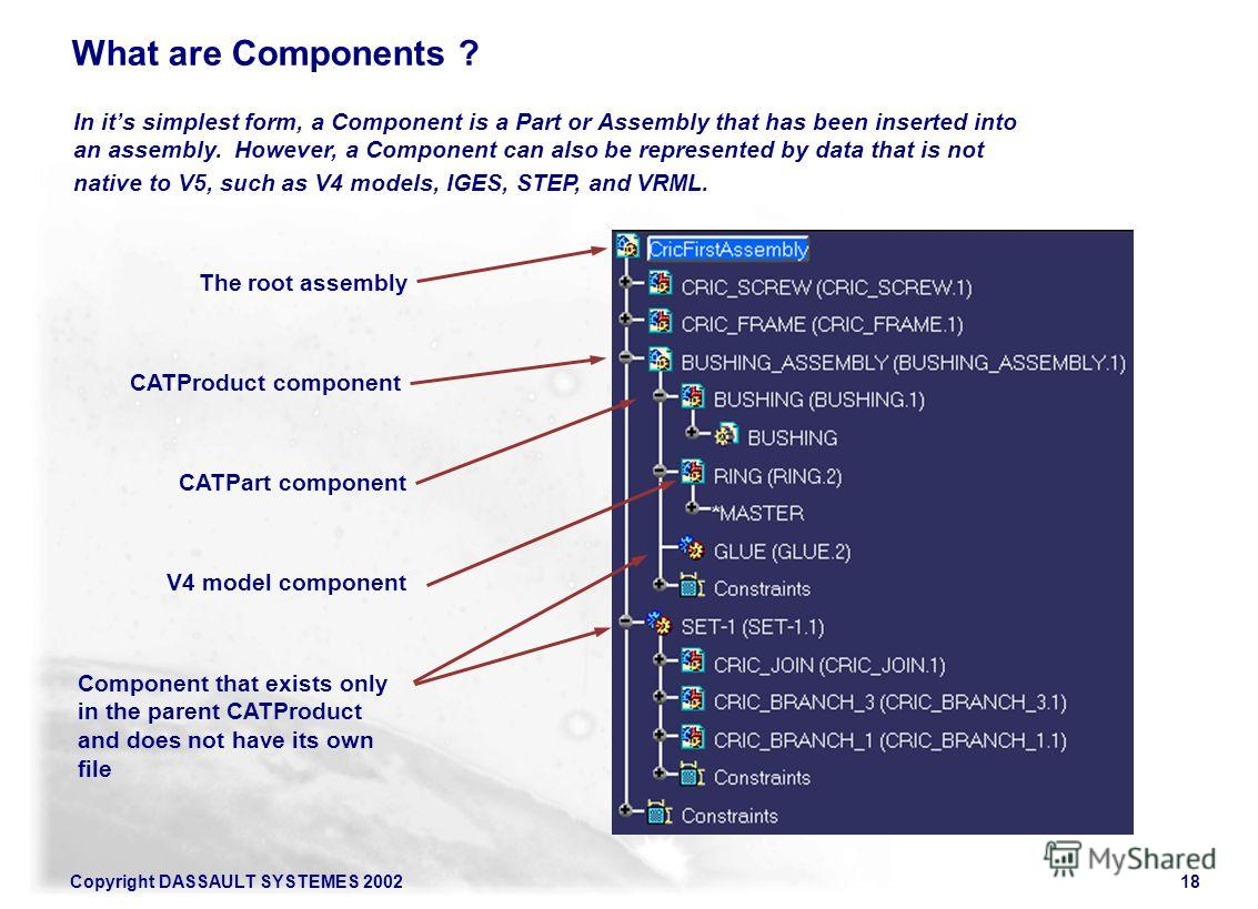 Copyright DASSAULT SYSTEMES 200218 What are Components ? In its simplest form, a Component is a Part or Assembly that has been inserted into an assembly. However, a Component can also be represented by data that is not native to V5, such as V4 models
