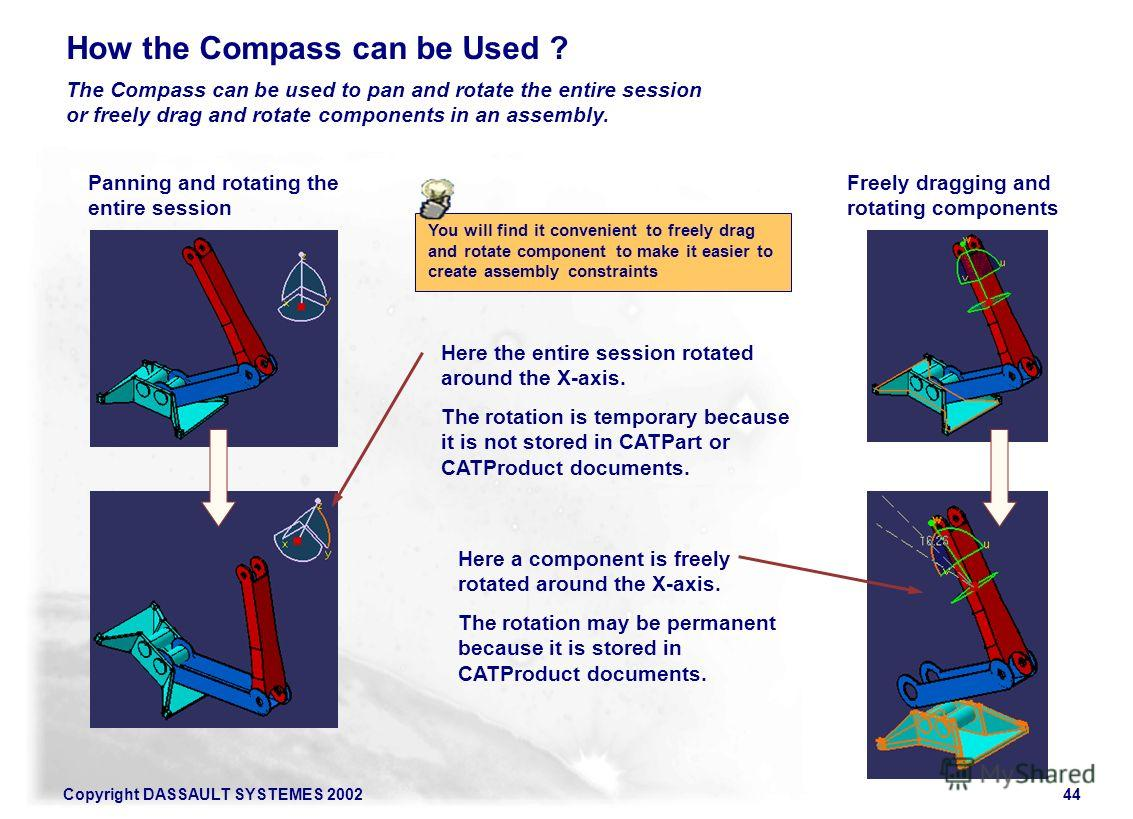 Copyright DASSAULT SYSTEMES 200244 How the Compass can be Used ? The Compass can be used to pan and rotate the entire session or freely drag and rotate components in an assembly. Panning and rotating the entire session Freely dragging and rotating co