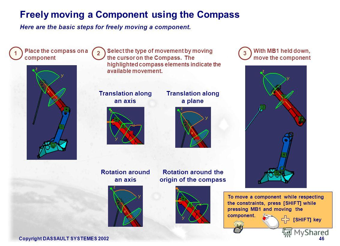 Copyright DASSAULT SYSTEMES 200246 1 Place the compass on a component 2 Rotation around an axis Rotation around the origin of the compass Translation along a plane 3 With MB1 held down, move the component Freely moving a Component using the Compass H