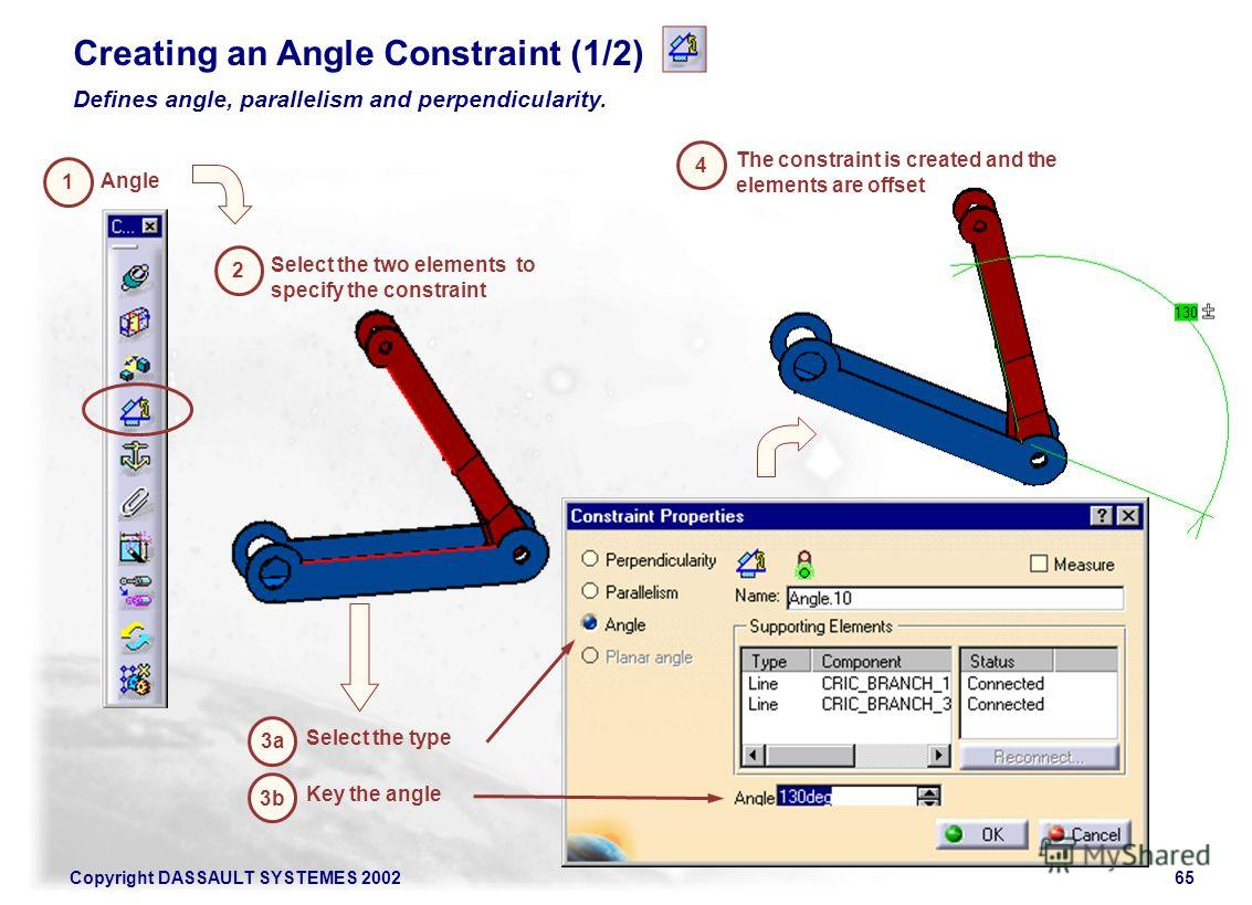 Copyright DASSAULT SYSTEMES 200265 3b Key the angle Creating an Angle Constraint (1/2) Defines angle, parallelism and perpendicularity. 1 Angle 3a 2 Select the two elements to specify the constraint The constraint is created and the elements are offs