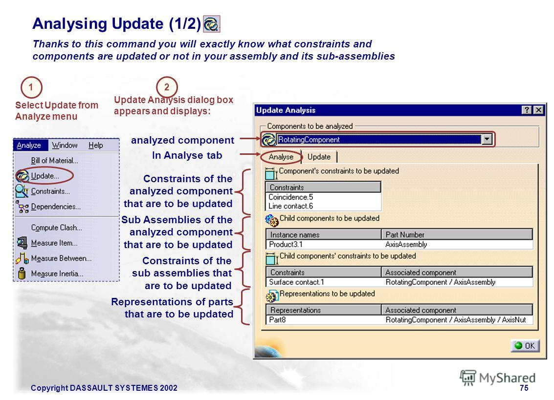Copyright DASSAULT SYSTEMES 200275 Analysing Update (1/2) Thanks to this command you will exactly know what constraints and components are updated or not in your assembly and its sub-assemblies 1 Select Update from Analyze menu Update Analysis dialog