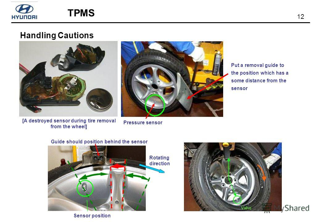 12 TPMS Handling Cautions Pressure sensor [A destroyed sensor during tire removal from the wheel] Put a removal guide to the position which has a some distance from the sensor Sensor position Rotating direction Guide should position behind the sensor