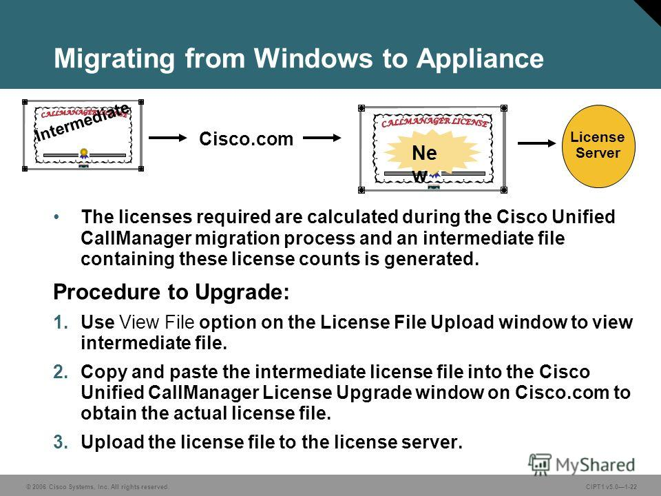 © 2006 Cisco Systems, Inc. All rights reserved. CIPT1 v5.01-22 Migrating from Windows to Appliance The licenses required are calculated during the Cisco Unified CallManager migration process and an intermediate file containing these license counts is