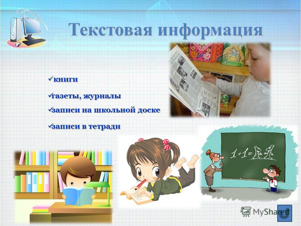 Текстовая информация книги книги газеты, журналы газеты, журналы записи на школьной доске записи на школьной доске записи в тетради записи в тетради