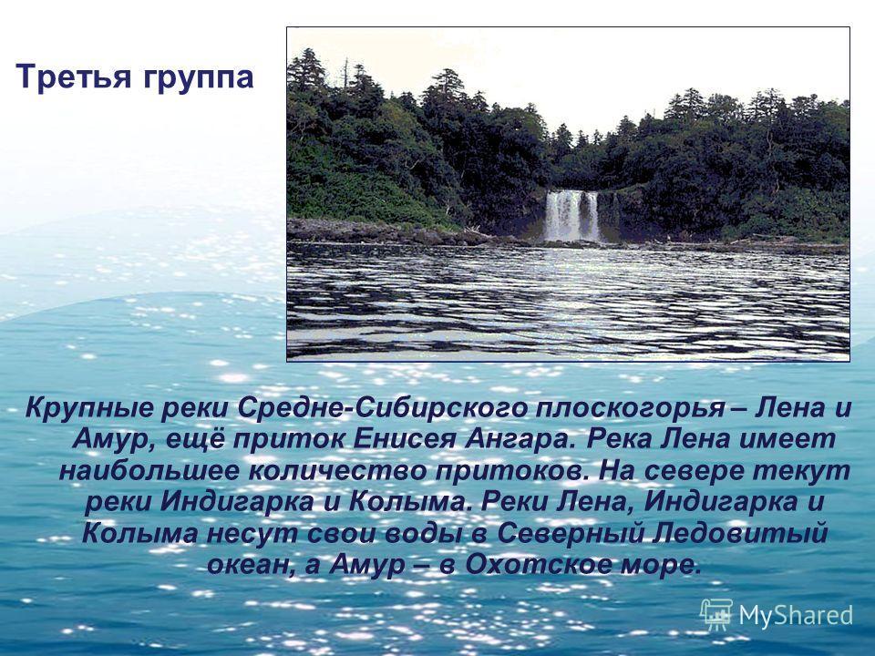 Третья группа Крупные реки Средне-Сибирского плоскогорья – Лена и Амур, ещё приток Енисея Ангара. Река Лена имеет наибольшее количество притоков. На севере текут реки Индигарка и Колыма. Реки Лена, Индигарка и Колыма несут свои воды в Северный Ледови