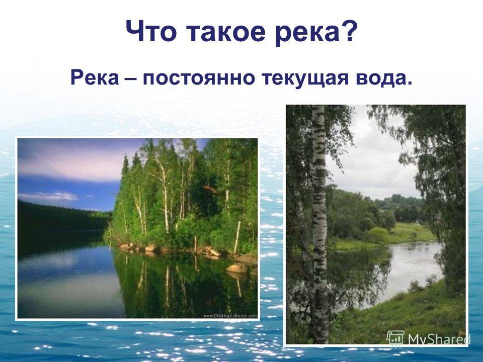Что такое река? Река – постоянно текущая вода.