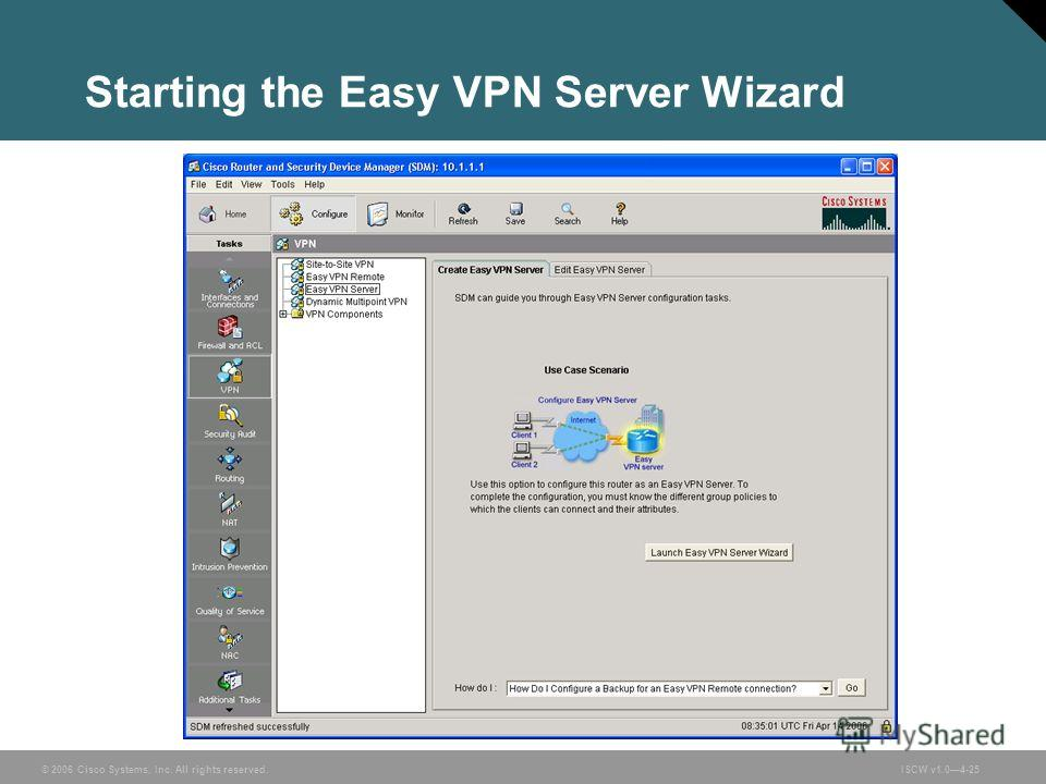 © 2006 Cisco Systems, Inc. All rights reserved.ISCW v1.04-25 Starting the Easy VPN Server Wizard
