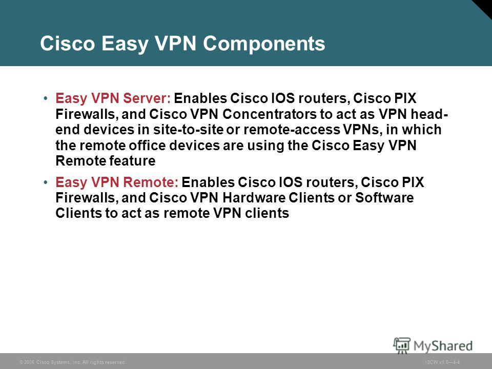 © 2006 Cisco Systems, Inc. All rights reserved.ISCW v1.04-4 Cisco Easy VPN Components Easy VPN Server: Enables Cisco IOS routers, Cisco PIX Firewalls, and Cisco VPN Concentrators to act as VPN head- end devices in site-to-site or remote-access VPNs,