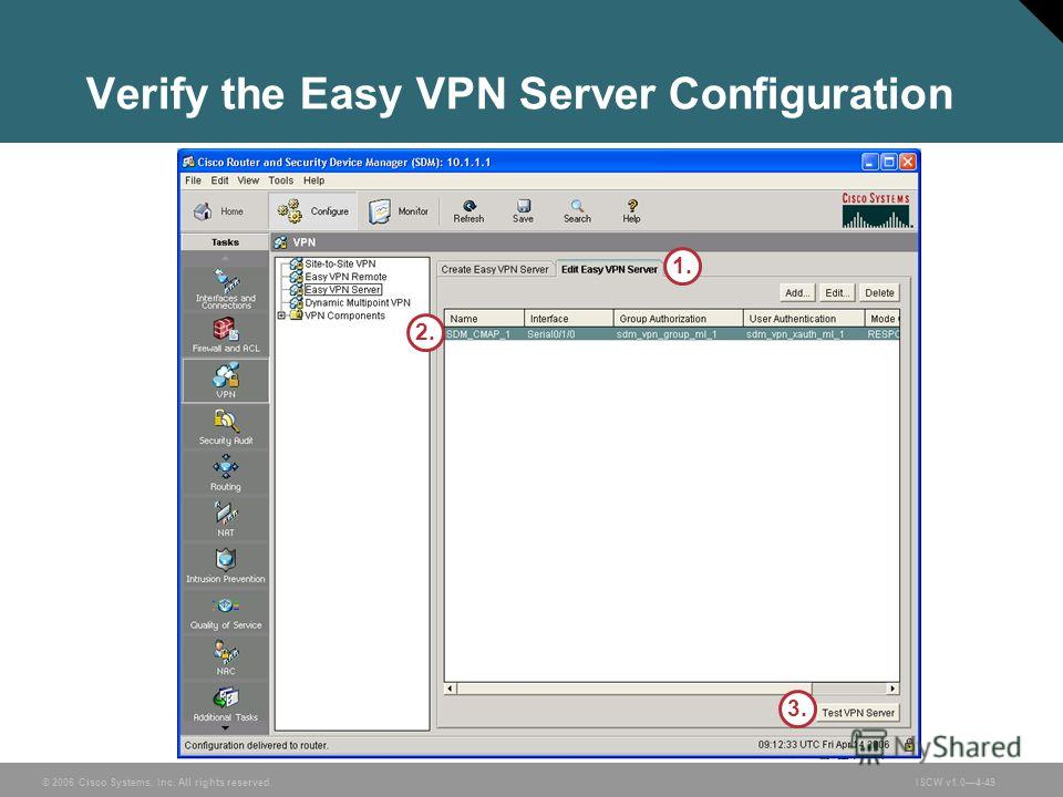 © 2006 Cisco Systems, Inc. All rights reserved.ISCW v1.04-49 Verify the Easy VPN Server Configuration 1. 3. 2.