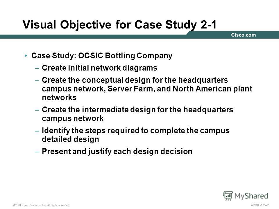 © 2004 Cisco Systems, Inc. All rights reserved. ARCH v1.22 Visual Objective for Case Study 2-1 Case Study: OCSIC Bottling Company –Create initial network diagrams –Create the conceptual design for the headquarters campus network, Server Farm, and Nor