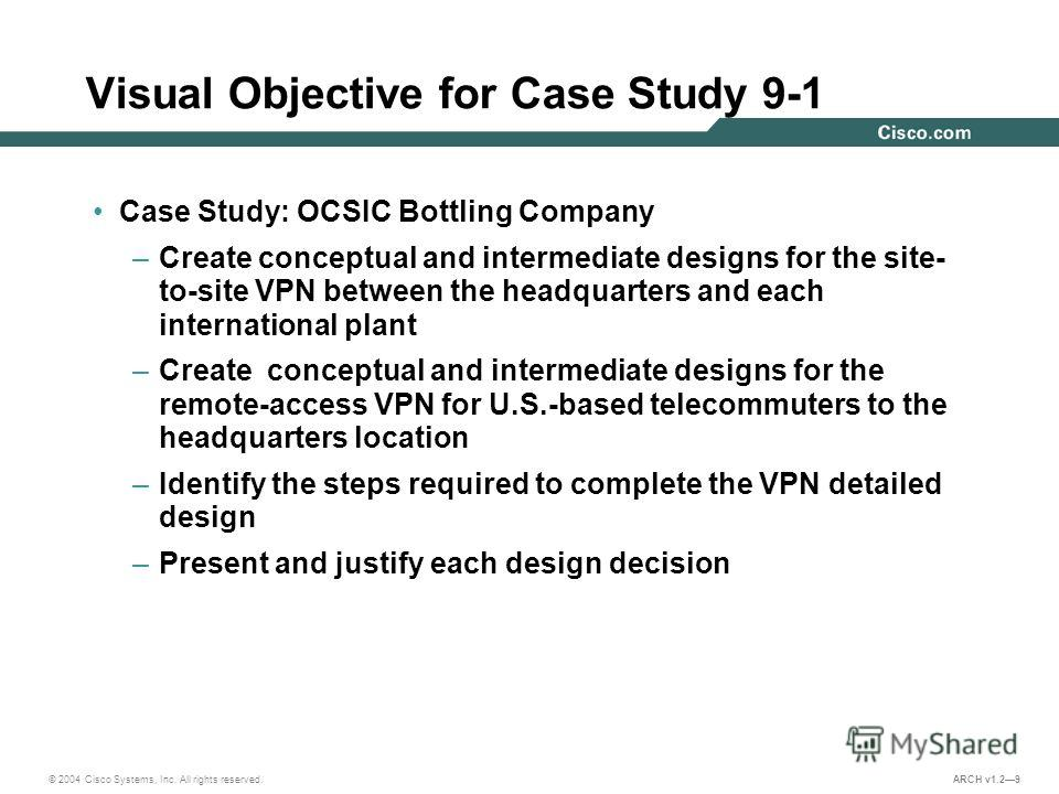 © 2004 Cisco Systems, Inc. All rights reserved. ARCH v1.29 Visual Objective for Case Study 9-1 Case Study: OCSIC Bottling Company –Create conceptual and intermediate designs for the site- to-site VPN between the headquarters and each international pl