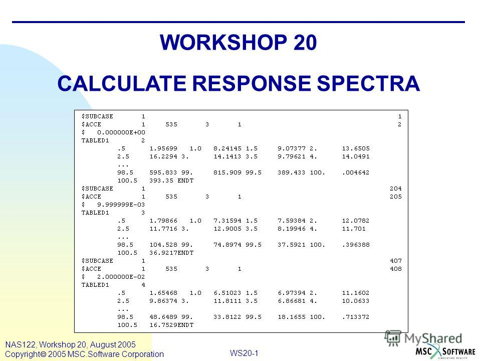 WS20-1 NAS122, Workshop 20, August 2005 Copyright 2005 MSC.Software Corporation WORKSHOP 20 CALCULATE RESPONSE SPECTRA