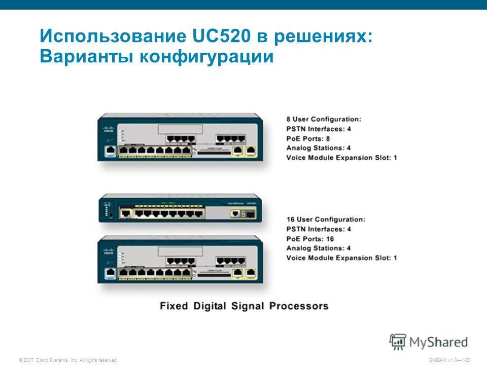 © 2007 Cisco Systems, Inc. All rights reserved. SMBAM v1.01-20 Использование UC520 в решениях: Варианты конфигурации