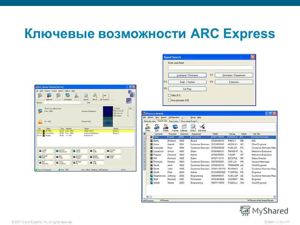 © 2007 Cisco Systems, Inc. All rights reserved. SMBAM v1.01-77 Ключевые возможности ARC Express