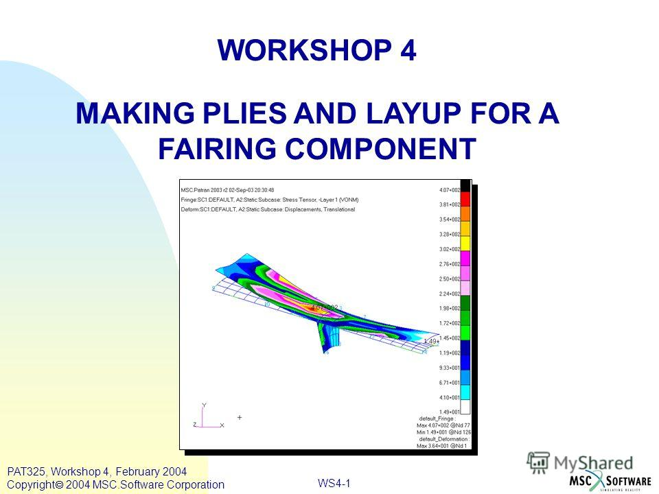 WORKSHOP 4 MAKING PLIES AND LAYUP FOR A FAIRING COMPONENT WS4-1 PAT325, Workshop 4, February 2004 Copyright 2004 MSC.Software Corporation
