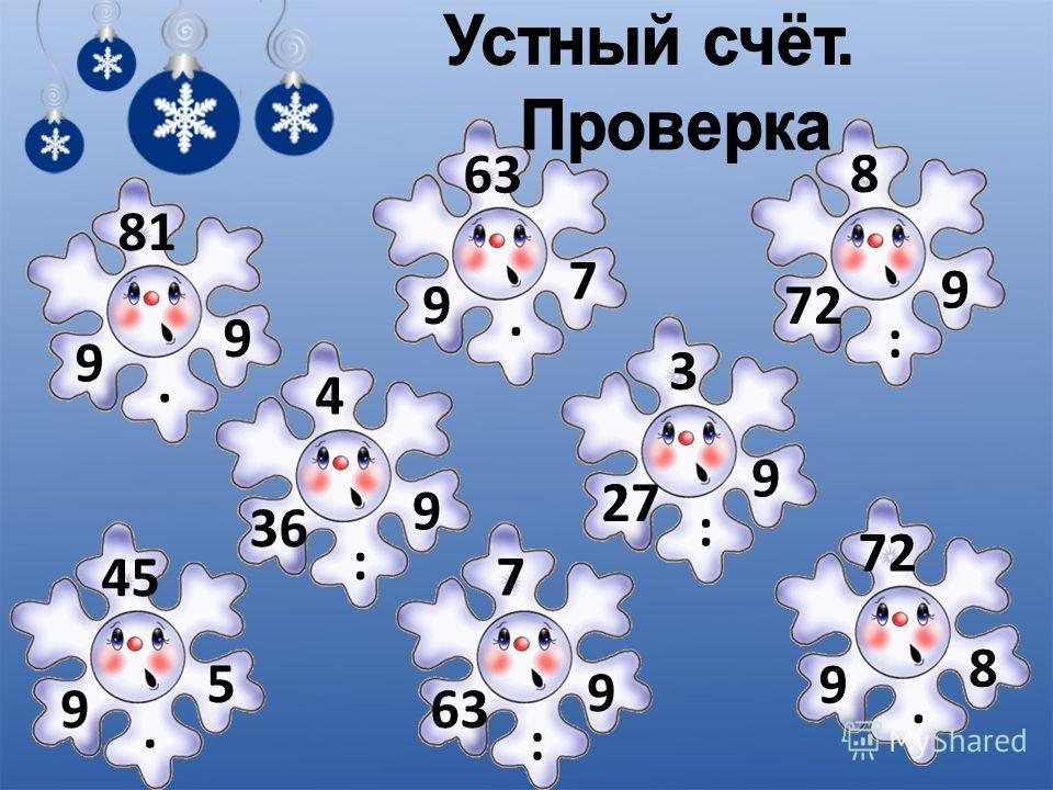 9 9 · 81 9 7 · 63 72 9 : 8 9 5 · 45 36 9 : 4 63 9 : 7 27 9 : 3 9 8 · 72