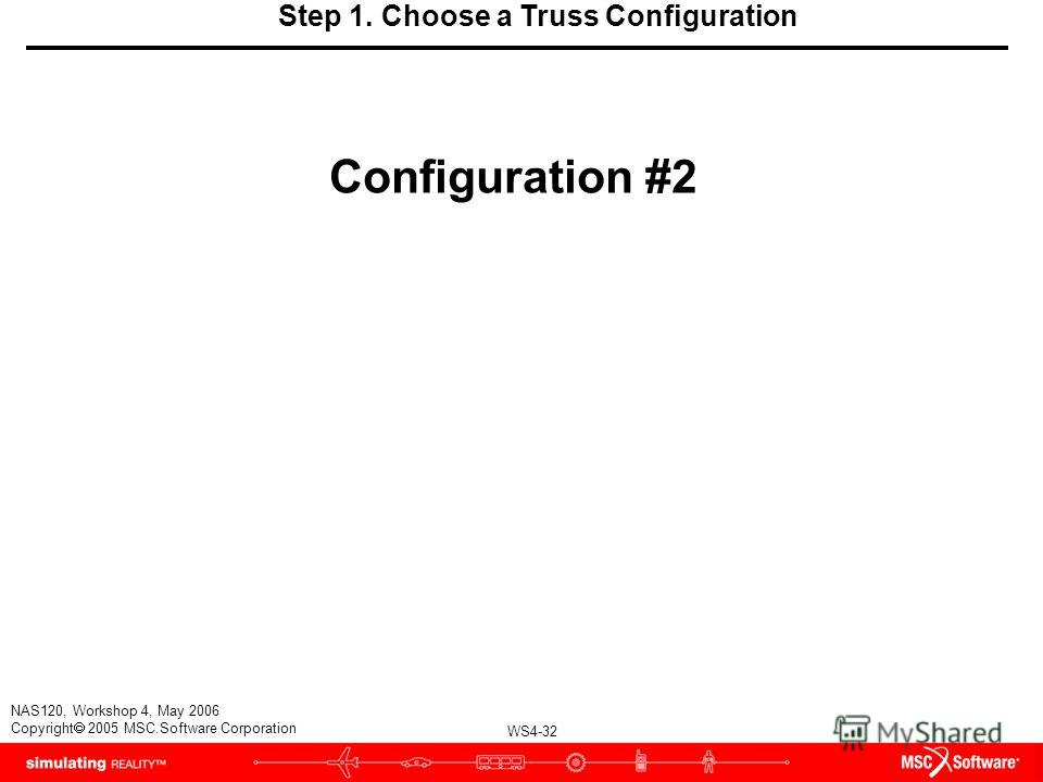 WS4-32 NAS120, Workshop 4, May 2006 Copyright 2005 MSC.Software Corporation Step 1. Choose a Truss Configuration Configuration #2