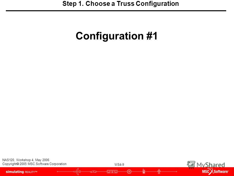 WS4-9 NAS120, Workshop 4, May 2006 Copyright 2005 MSC.Software Corporation Step 1. Choose a Truss Configuration Configuration #1