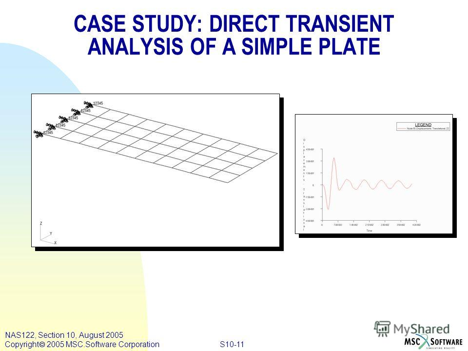 S10-11 NAS122, Section 10, August 2005 Copyright 2005 MSC.Software Corporation CASE STUDY: DIRECT TRANSIENT ANALYSIS OF A SIMPLE PLATE