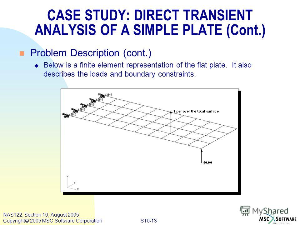 S10-13 NAS122, Section 10, August 2005 Copyright 2005 MSC.Software Corporation n Problem Description (cont.) u Below is a finite element representation of the flat plate. It also describes the loads and boundary constraints. CASE STUDY: DIRECT TRANSI