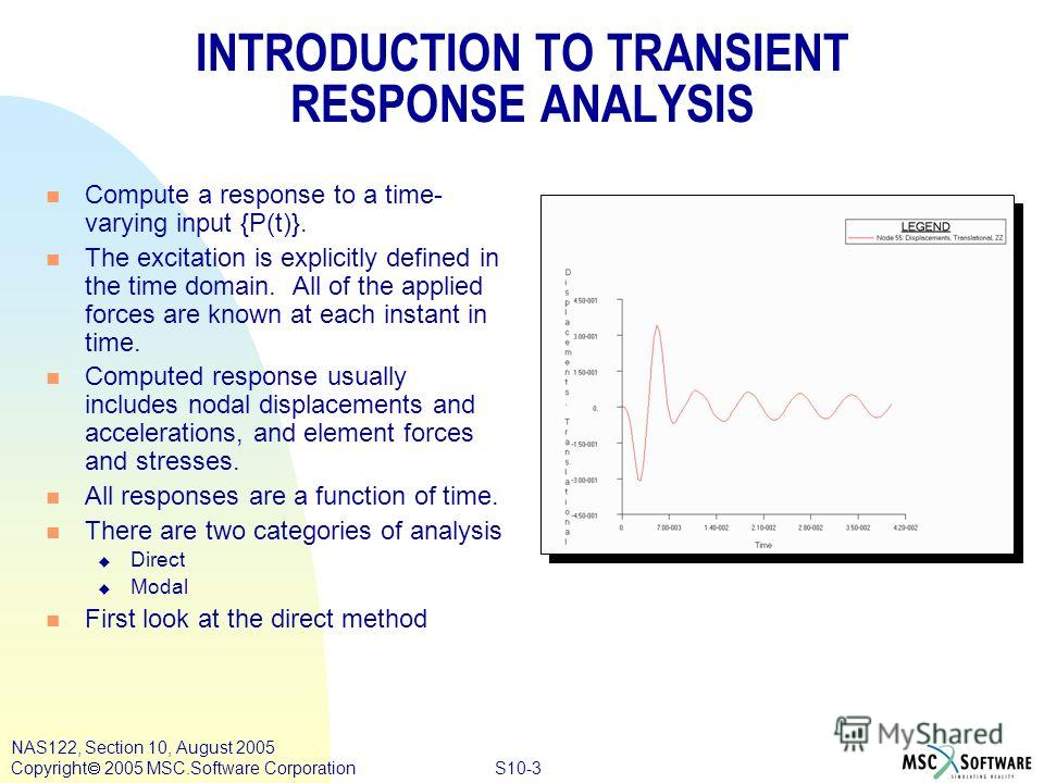S10-3 NAS122, Section 10, August 2005 Copyright 2005 MSC.Software Corporation INTRODUCTION TO TRANSIENT RESPONSE ANALYSIS n Compute a response to a time- varying input {P(t)}. n The excitation is explicitly defined in the time domain. All of the appl