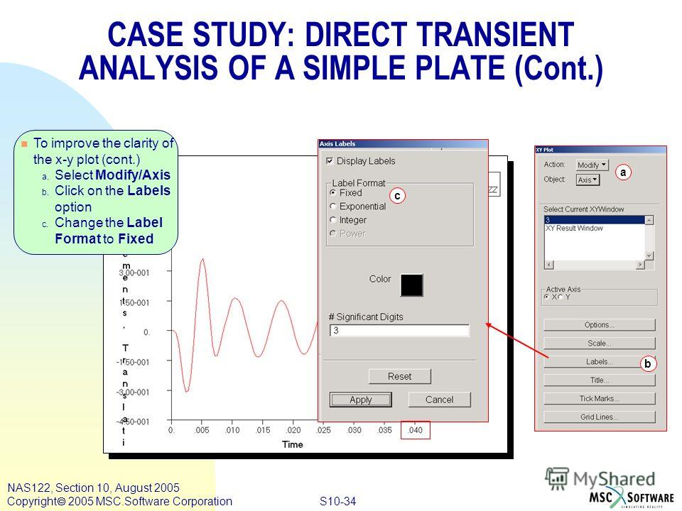 S10-34 NAS122, Section 10, August 2005 Copyright 2005 MSC.Software Corporation n To improve the clarity of the x-y plot (cont.) a. Select Modify/Axis b. Click on the Labels option c. Change the Label Format to Fixed b c a CASE STUDY: DIRECT TRANSIENT