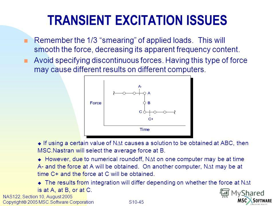 S10-45 NAS122, Section 10, August 2005 Copyright 2005 MSC.Software Corporation TRANSIENT EXCITATION ISSUES n Remember the 1/3 smearing of applied loads. This will smooth the force, decreasing its apparent frequency content. n Avoid specifying discont