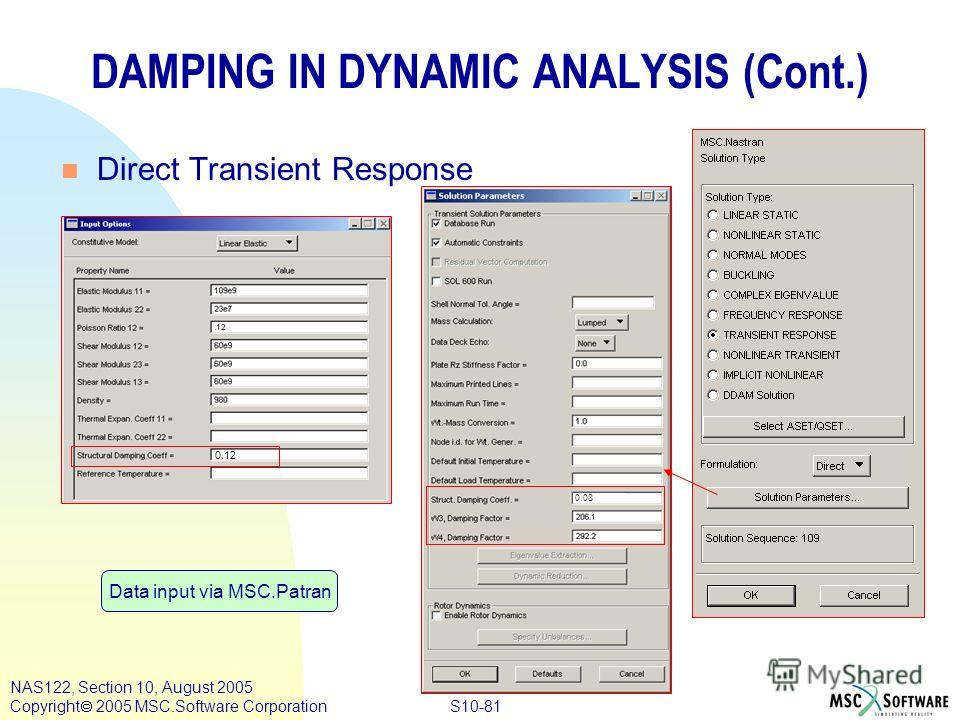 S10-81 NAS122, Section 10, August 2005 Copyright 2005 MSC.Software Corporation 0.08 DAMPING IN DYNAMIC ANALYSIS (Cont.) n Direct Transient Response Data input via MSC.Patran 0.12