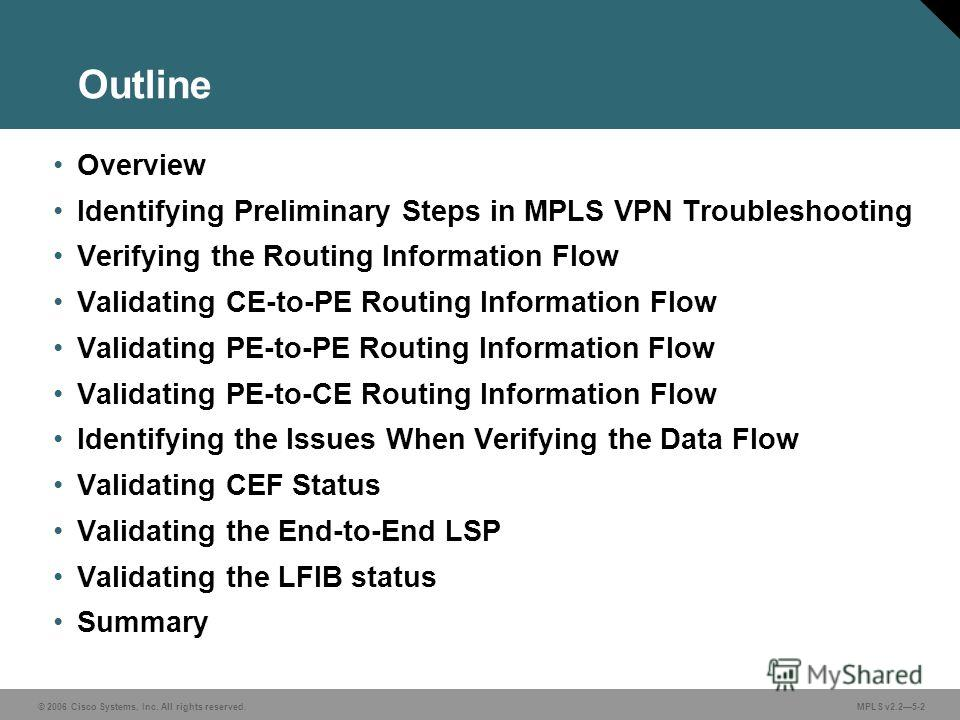 © 2006 Cisco Systems, Inc. All rights reserved. MPLS v2.25-2 Overview Identifying Preliminary Steps in MPLS VPN Troubleshooting Verifying the Routing Information Flow Validating CE-to-PE Routing Information Flow Validating PE-to-PE Routing Informatio