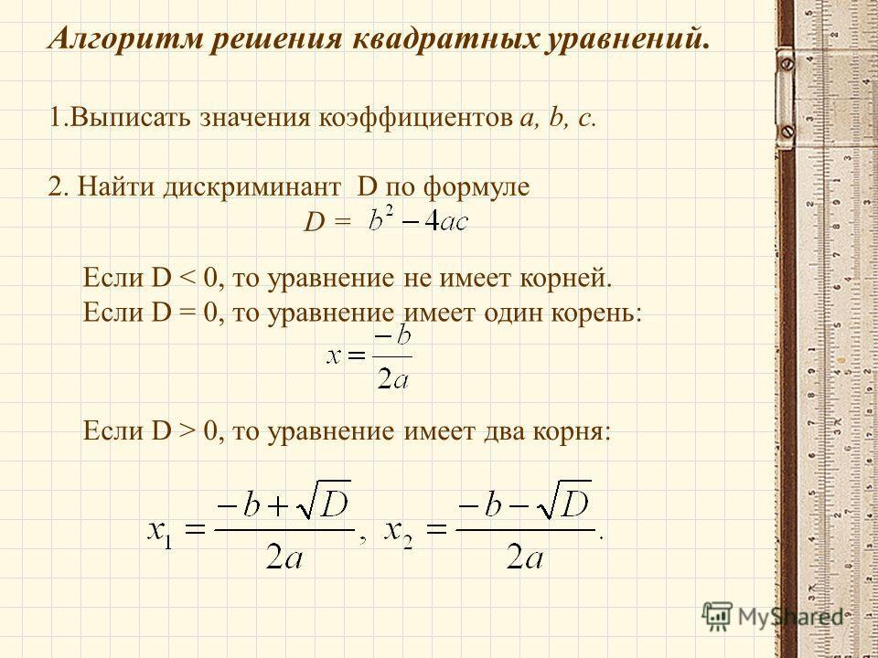 Алгоритм решения квадратных уравнений. 1. Выписать значения коэффициентов a, b, c. 2. Найти дискриминант D по формуле D = Если D < 0, то уравнение не имеет корней. Если D = 0, то уравнение имеет один корень: Если D > 0, то уравнение имеет два корня: