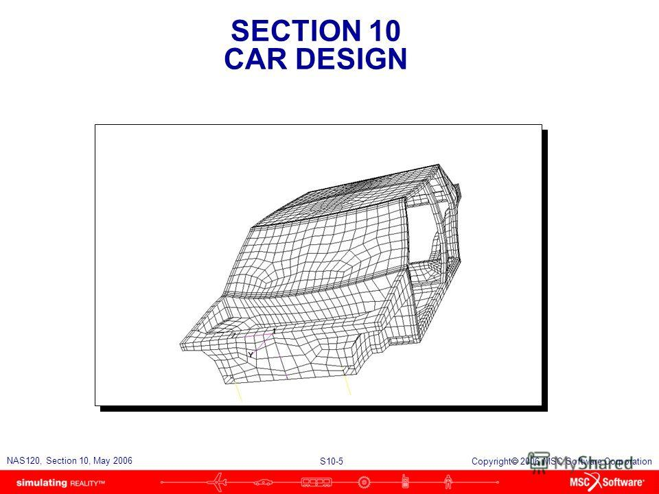 SECTION 10 CAR DESIGN S10-5 NAS120, Section 10, May 2006 Copyright 2006 MSC.Software Corporation