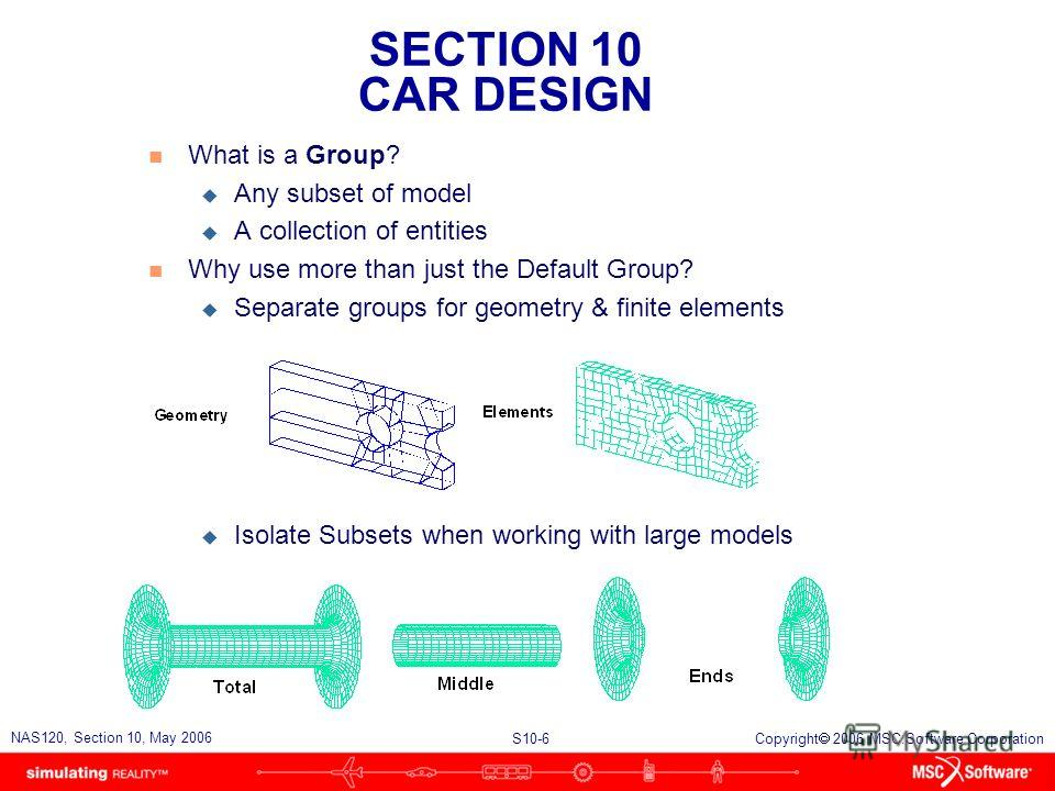 SECTION 10 CAR DESIGN S10-6 NAS120, Section 10, May 2006 Copyright 2006 MSC.Software Corporation n What is a Group? u Any subset of model u A collection of entities n Why use more than just the Default Group? u Separate groups for geometry & finite e