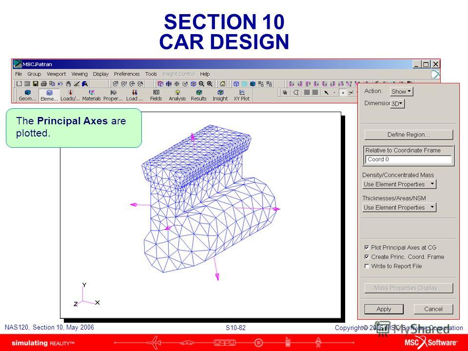 SECTION 10 CAR DESIGN S10-82 NAS120, Section 10, May 2006 Copyright 2006 MSC.Software Corporation The Principal Axes are plotted.
