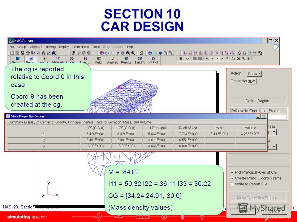 SECTION 10 CAR DESIGN S10-83 NAS120, Section 10, May 2006 Copyright 2006 MSC.Software Corporation The cg is reported relative to Coord 0 in this case. Coord 9 has been created at the cg. M =.8412 I11 = 50.32 I22 = 36.11 I33 = 30.22 CG = [34.24,24.91,