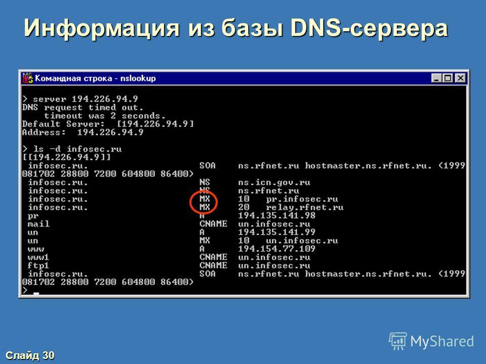 Слайд 29 Информация из базы DNS-сервера