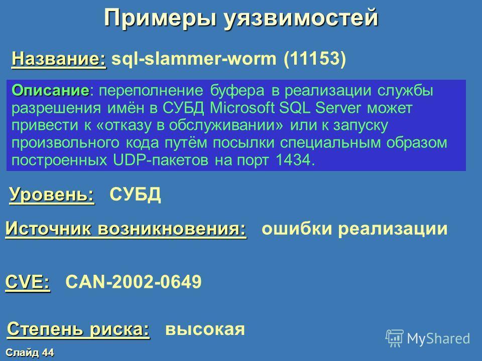 Слайд 43 Общедоступные базы данных уязвимостей www.kb.cert.org/vuls/ - координационный центр CERT/CC www.iss.net/security_center/search.php - база данных компании ISS www.ciac.org/ciac/ - центр CIAC www.securityfocus.com/bid www.sans.org