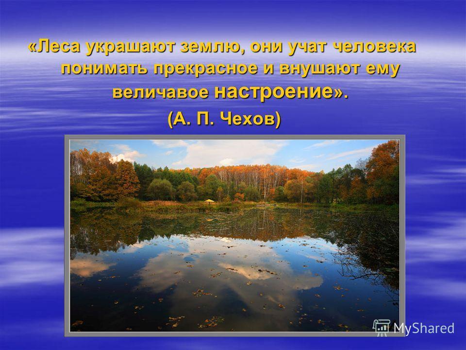 «Леса украшают землю, они учат человека понимать прекрасное и внушают ему величавое настроение ». (А. П. Чехов) (А. П. Чехов)