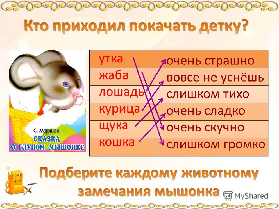утка жаба лошадь курица щука кошка очень страшно вовсе не уснёшь слишком тихо очень сладко очень скучно слишком громко