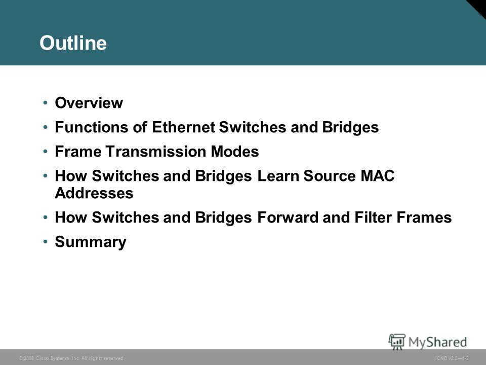 © 2006 Cisco Systems, Inc. All rights reserved. ICND v2.31-2 Outline Overview Functions of Ethernet Switches and Bridges Frame Transmission Modes How Switches and Bridges Learn Source MAC Addresses How Switches and Bridges Forward and Filter Frames S