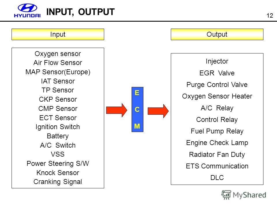 12 INPUT, OUTPUT Input Oxygen sensor Air Flow Sensor MAP Sensor(Europe) IAT Sensor TP Sensor CKP Sensor CMP Sensor ECT Sensor Ignition Switch Battery A/C Switch VSS Power Steering S/W Knock Sensor Cranking Signal ECMECM Output Injector EGR Valve Purg