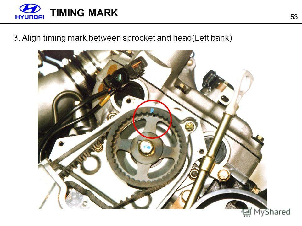 53 TIMING MARK 3. Align timing mark between sprocket and head(Left bank).