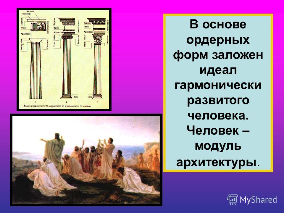 В основе ордерных форм заложен идеал гармонически развитого человека. Человек – модуль архитектуры.