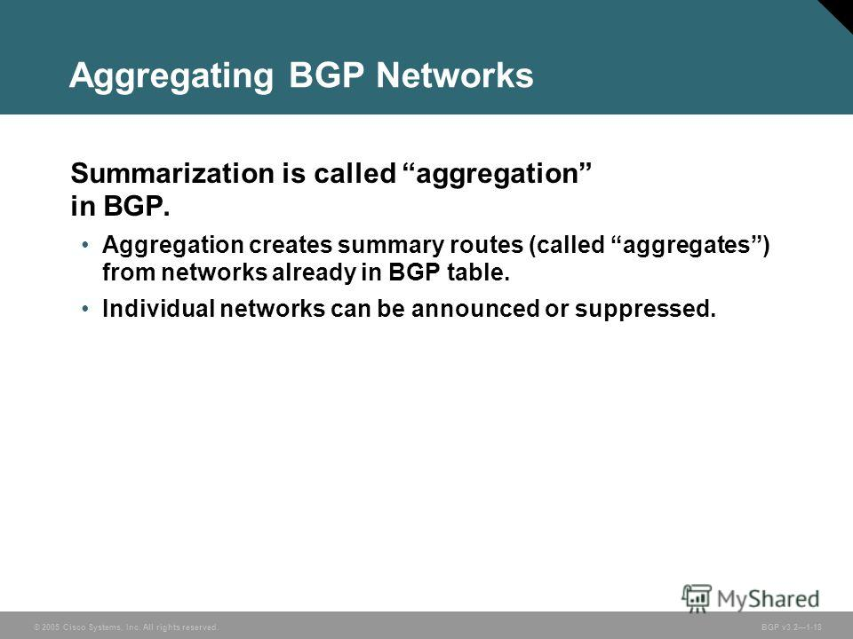 © 2005 Cisco Systems, Inc. All rights reserved. BGP v3.21-18 Aggregating BGP Networks Summarization is called aggregation in BGP. Aggregation creates summary routes (called aggregates) from networks already in BGP table. Individual networks can be an