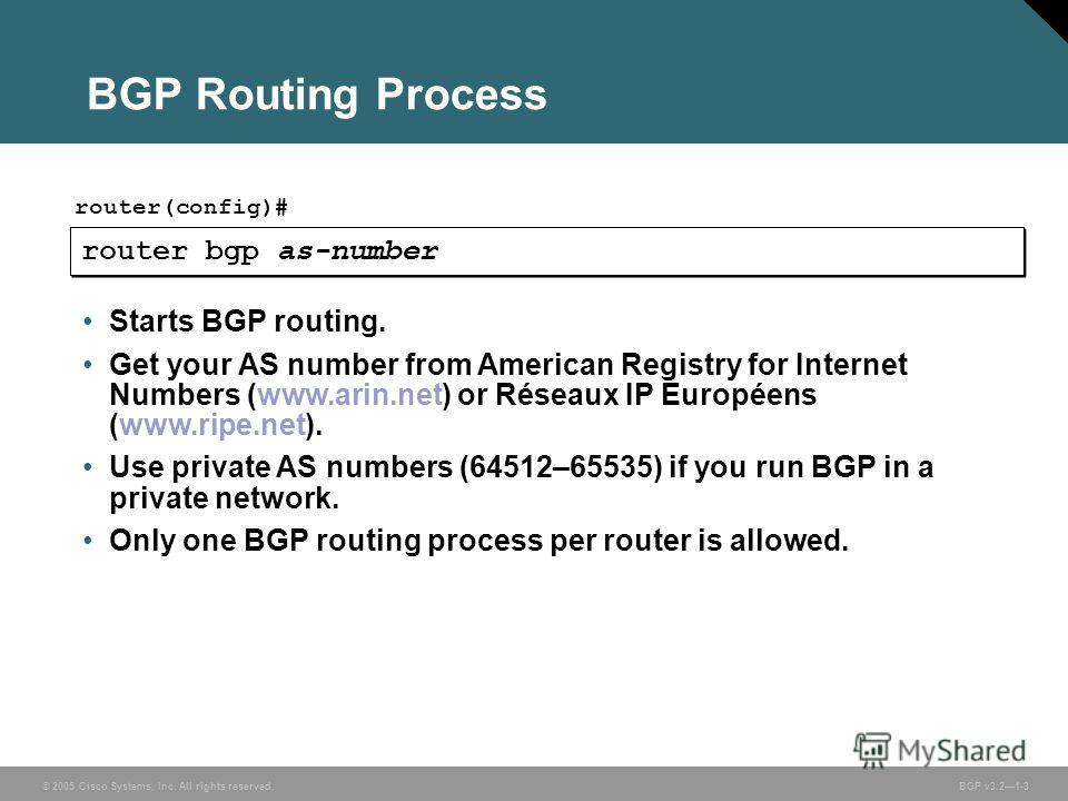 © 2005 Cisco Systems, Inc. All rights reserved. BGP v3.21-3 router(config)# BGP Routing Process router bgp as-number Starts BGP routing. Get your AS number from American Registry for Internet Numbers (www.arin.net) or Réseaux IP Européens (www.ripe.n