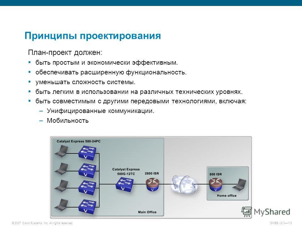 © 2007 Cisco Systems, Inc. All rights reserved. SMBE v2.01-3 Принципы проектирования План-проект должен: быть простым и экономически эффективным. обеспечивать расширенную функциональность. уменьшать сложность системы. быть легким в использовании на р