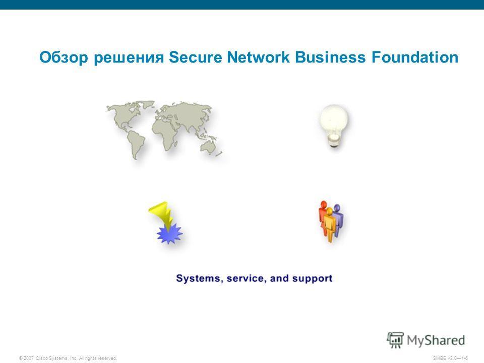 © 2007 Cisco Systems, Inc. All rights reserved. SMBE v2.01-6 Обзор решения Secure Network Business Foundation