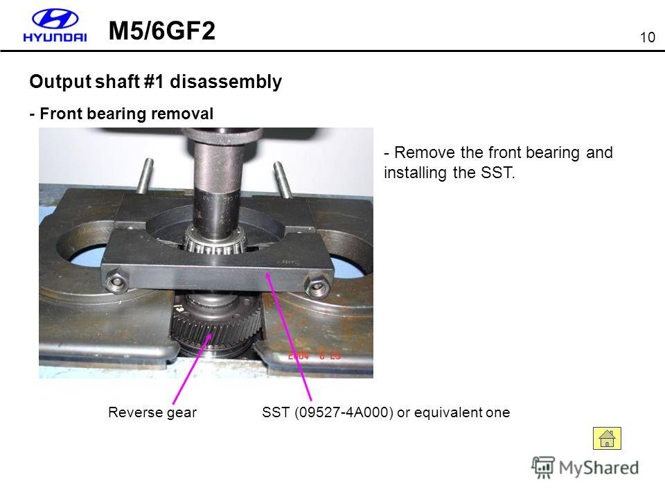 10 Output shaft #1 disassembly - Front bearing removal SST (09527-4A000) or equivalent oneReverse gear - Remove the front bearing and installing the SST. M5/6GF2