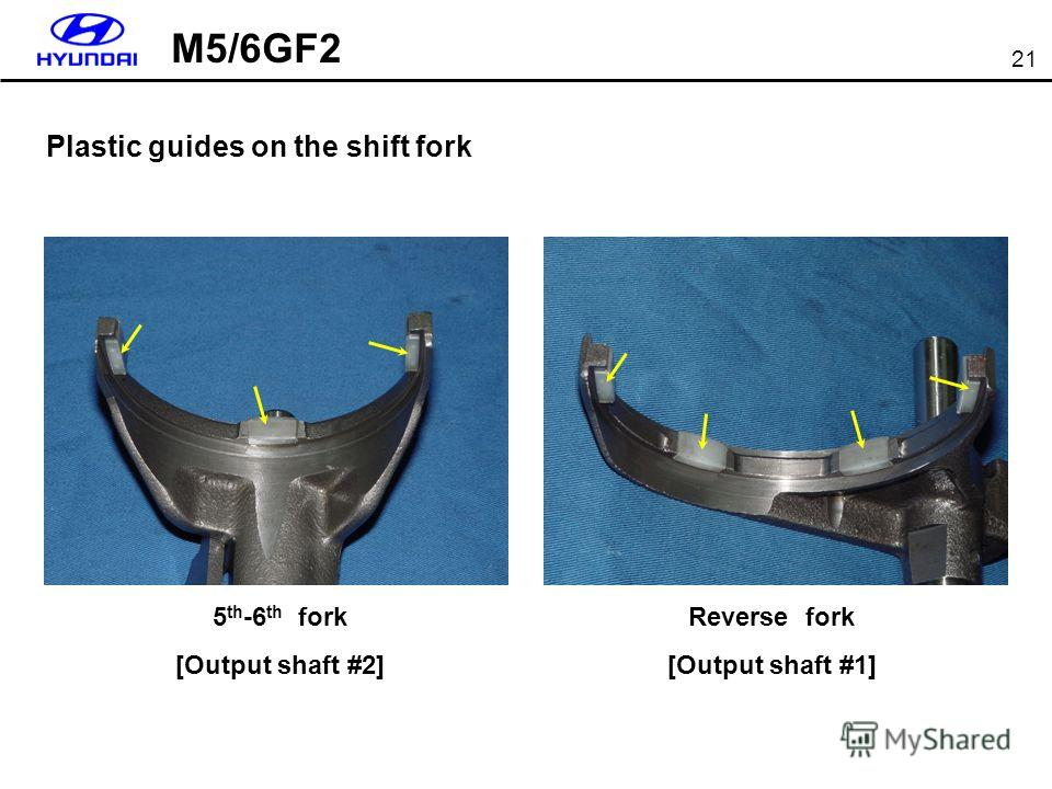 21 5 th -6 th fork [Output shaft #2] Reverse fork [Output shaft #1] Plastic guides on the shift fork M5/6GF2