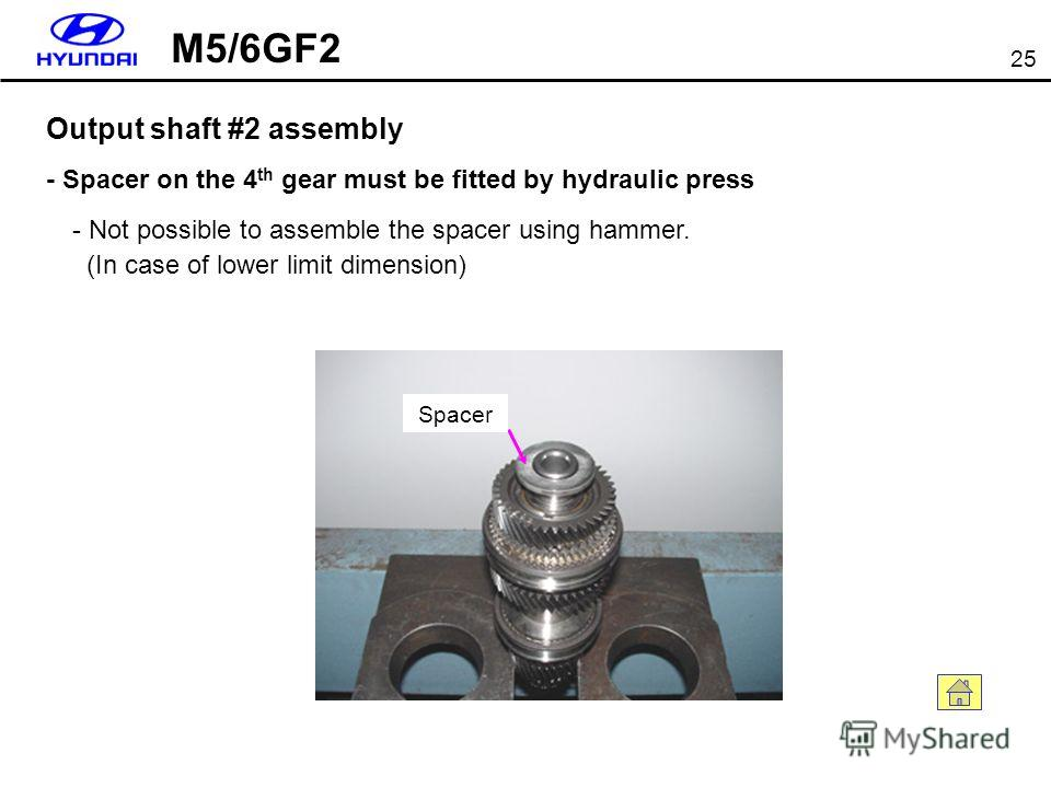 25 Output shaft #2 assembly - Not possible to assemble the spacer using hammer. (In case of lower limit dimension) - Spacer on the 4 th gear must be fitted by hydraulic press Spacer M5/6GF2